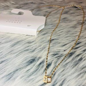 2/$12 Long Gold dainty necklace with cube pendant
